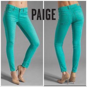 Paige Spearmint Verdugo Ultra Skinny Jeans Size 29